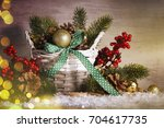 stylish rustic christmas... | Shutterstock . vector #704617735