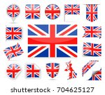 united kingdom flag set  ... | Shutterstock .eps vector #704625127