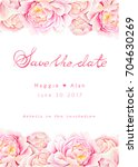 save the date. watercolor... | Shutterstock . vector #704630269