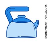 hot kettle vector line icon...