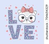 cute little cat girl with... | Shutterstock .eps vector #704654329