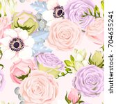 seamless pattern with anemones... | Shutterstock .eps vector #704655241