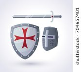 a knightly helmet  a shield and ... | Shutterstock .eps vector #704657401