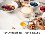 top view showing hands eating... | Shutterstock . vector #704658151