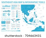 southeast asia map   detailed... | Shutterstock .eps vector #704663431