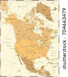 north america map   vintage... | Shutterstock .eps vector #704663479