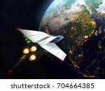 spaceship arrives to earth. 3d...   Shutterstock . vector #704664385