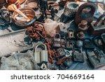 metal objects flea market... | Shutterstock . vector #704669164