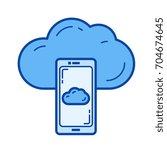 cloud sync vector line icon... | Shutterstock .eps vector #704674645