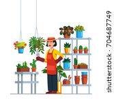 woman gardener or florist... | Shutterstock .eps vector #704687749
