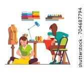 woman dressmaker stitching... | Shutterstock .eps vector #704687794