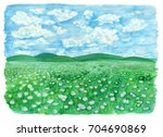 the field or grassland or... | Shutterstock . vector #704690869