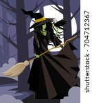 evil green witch with raven... | Shutterstock .eps vector #704712367
