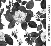 Stock photo digital painting monochrome roses seamless pattern pastel watercolor mixed media floral drawing 704713399