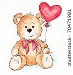 Cute Teddy Bear With Red Heart...