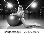 gorgeous blonde female model ... | Shutterstock . vector #704724079