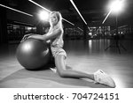 gorgeous blonde female model ...   Shutterstock . vector #704724151