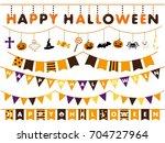 Halloween Garland Line Vector...