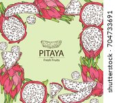 background with pitaya fruit ... | Shutterstock .eps vector #704733691