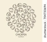background with chickpea ... | Shutterstock .eps vector #704733694