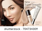 cosmetic foundation ads ... | Shutterstock .eps vector #704734309