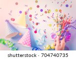 colorful party hats for kids... | Shutterstock . vector #704740735