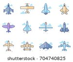 airplane silhouette icons in... | Shutterstock .eps vector #704740825