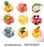set of fruit juice splash .... | Shutterstock .eps vector #704743837