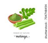 superfood fruit. moringa  twig... | Shutterstock .eps vector #704748454