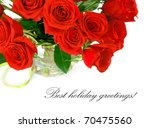 Stock photo bouquet of red roses isolated on white background 70475560