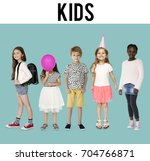 diverse of young children... | Shutterstock . vector #704766871