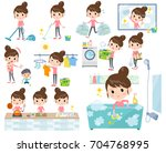 set of various poses of bun... | Shutterstock .eps vector #704768995