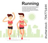 young couple running jogging... | Shutterstock .eps vector #704771644