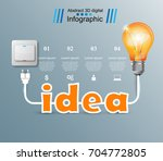 bulb  light  switch  on off... | Shutterstock .eps vector #704772805