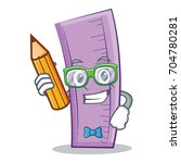 student with pencil ruler...   Shutterstock .eps vector #704780281