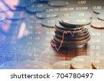 graph of stock market coins ...   Shutterstock . vector #704780497