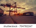 dock handling container   Shutterstock . vector #704782267