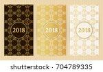 set of flyers in golden colors. ... | Shutterstock .eps vector #704789335