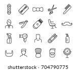 premium set of barber line...   Shutterstock .eps vector #704790775