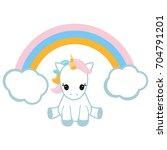 cute unicorn and a rainbow on... | Shutterstock .eps vector #704791201