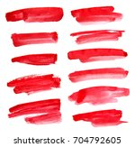 set of red ink on white... | Shutterstock . vector #704792605