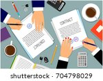 signing contract or shipping... | Shutterstock .eps vector #704798029