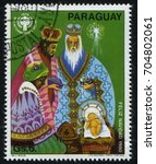 Small photo of RUSSIA KALININGRAD, 22 APRIL 2017: stamp printed by Paraguay, shows Adoration of te Magi, circa 1980