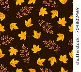 seamless pattern with autumn... | Shutterstock .eps vector #704802469