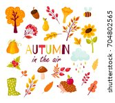 autumn set of elements in the... | Shutterstock .eps vector #704802565