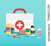 medical concept. pills and... | Shutterstock .eps vector #704821159