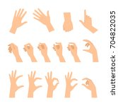 various gestures of human hands ... | Shutterstock .eps vector #704822035