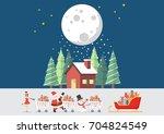 santa claus santa girl and...   Shutterstock .eps vector #704824549