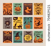 halloween party invitation... | Shutterstock .eps vector #704829121