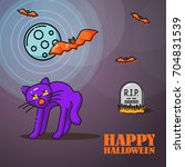 halloween linear banner with... | Shutterstock .eps vector #704831539